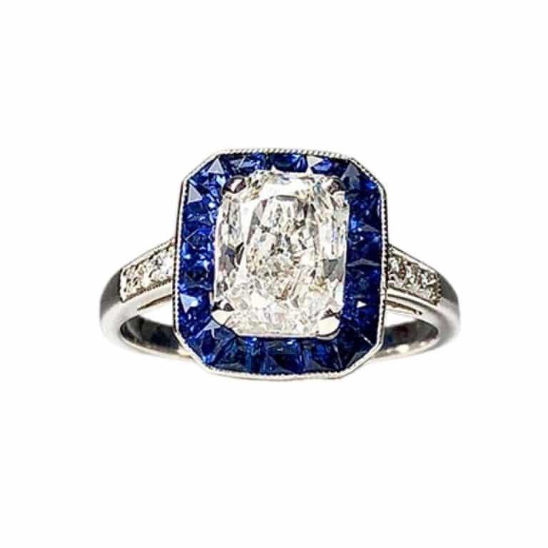 GIA Platinum, Sapphire, Diamond Ring