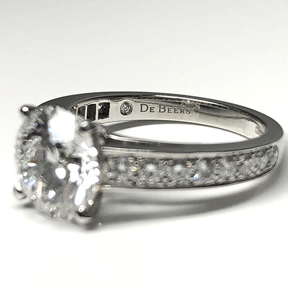 GIA Certified De Beers 2.4ct VG/X/X D SI 1 Diamond Ring
