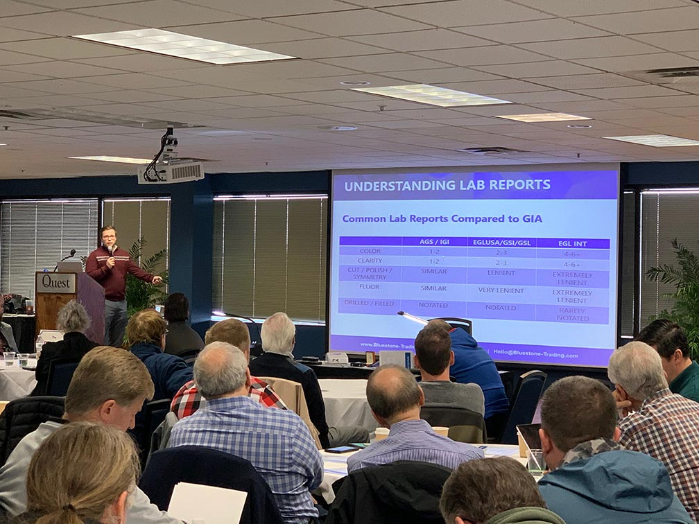 Ritchie Grampp Jr. presenting at the Ohio Pawnbrokers Continuing Education in November 2019 on Diamond Fundamentals and lab-grown Diamonds, similar to the presentation for the Texas Association of Pawnbrokers