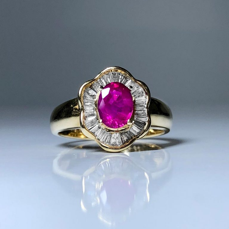 14KY Natural Ruby, Dia Ring
