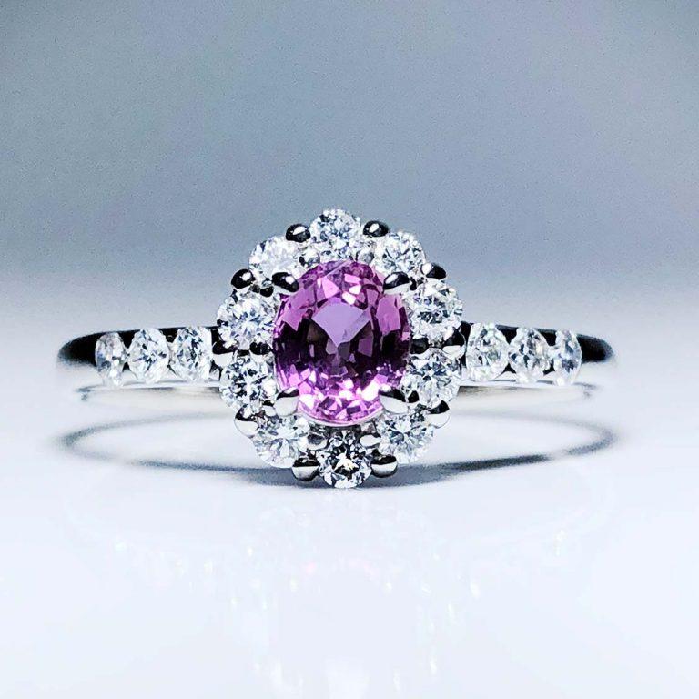 Plat Pink Sapph, Dia Ring