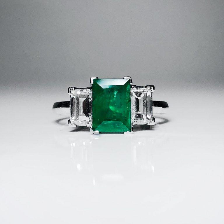 Diamond, emerald, 3 stone ring