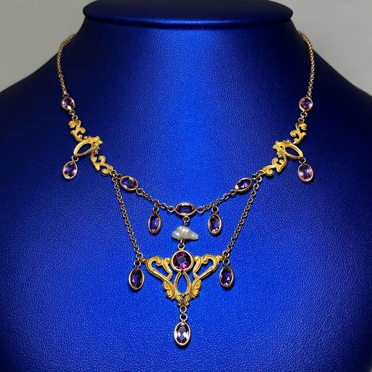 Mixed Karat Amethyst, Pearl Necklace