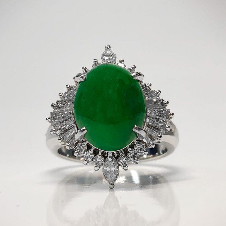 Platinum, jade and diamond ring