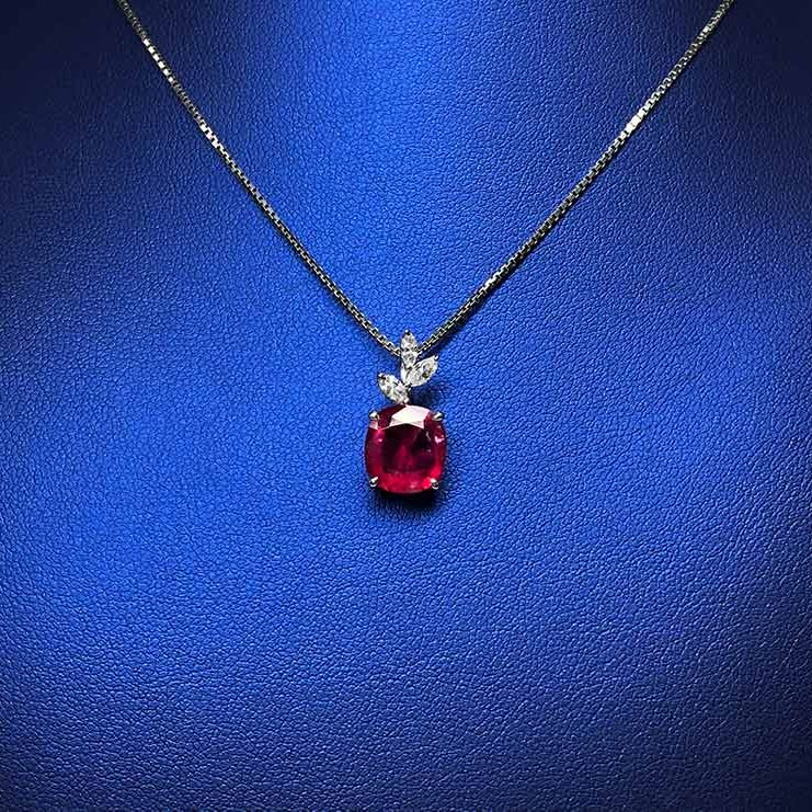 18KW Ruby, Dia Necklace
