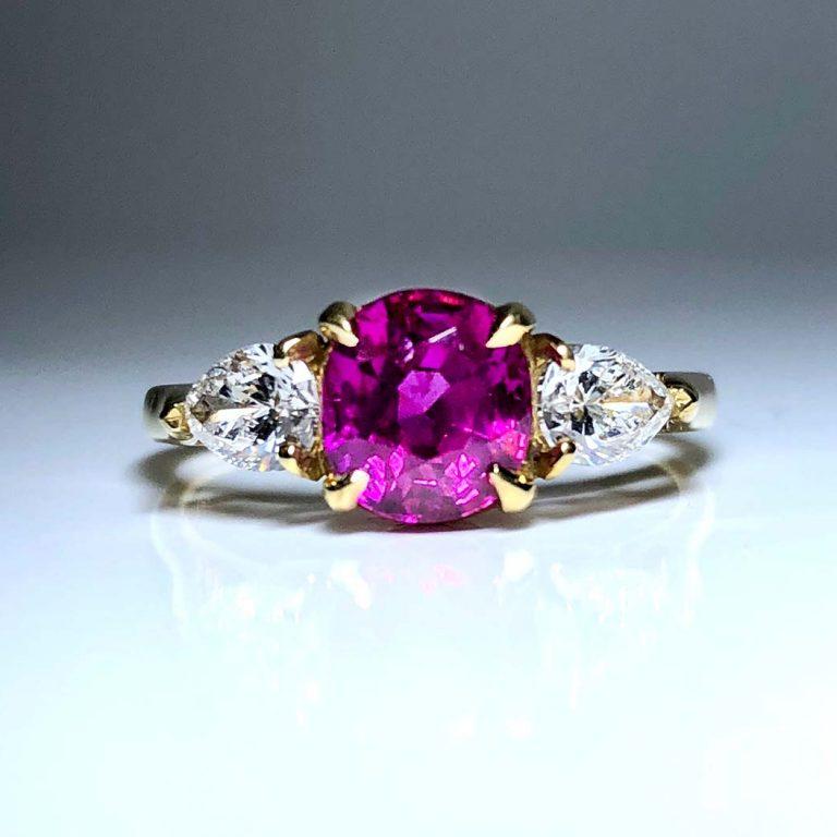 18KY 1.65 CTR Pink Sapp / PS Dia Ring