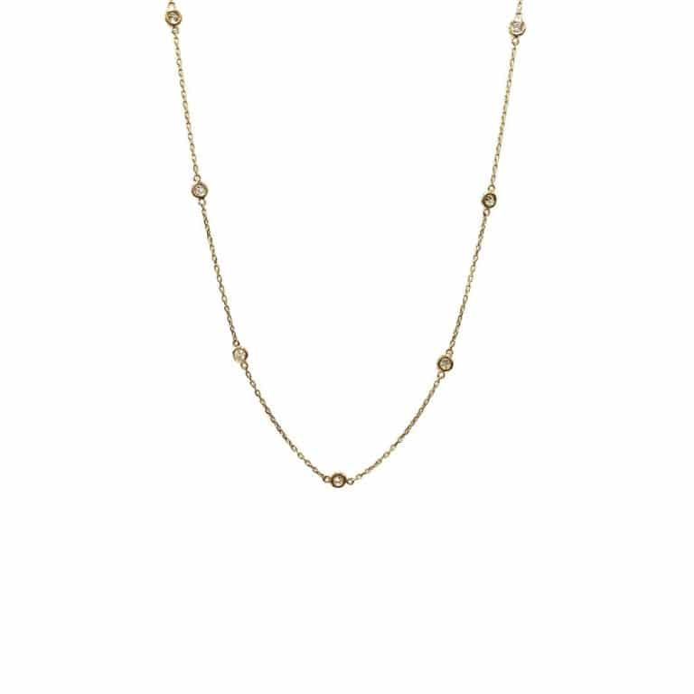 14KY gold diamonds by the yard necklace