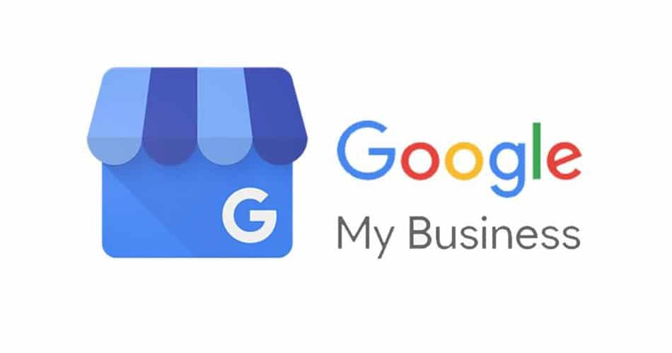 Google my business logo, with a store front, and the words Google My Business to the right in rainbow colors