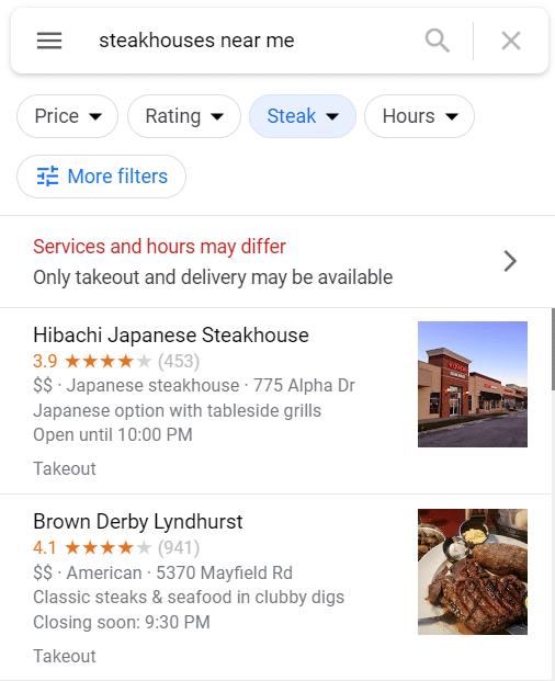 """Google Business Listings for S""""Steakhouses Near Me"""""""