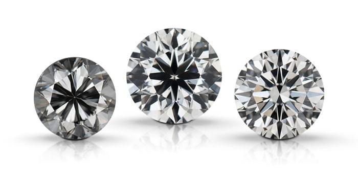 Three diamonds used to compare the face-up appearance effected by the cut of a diamond