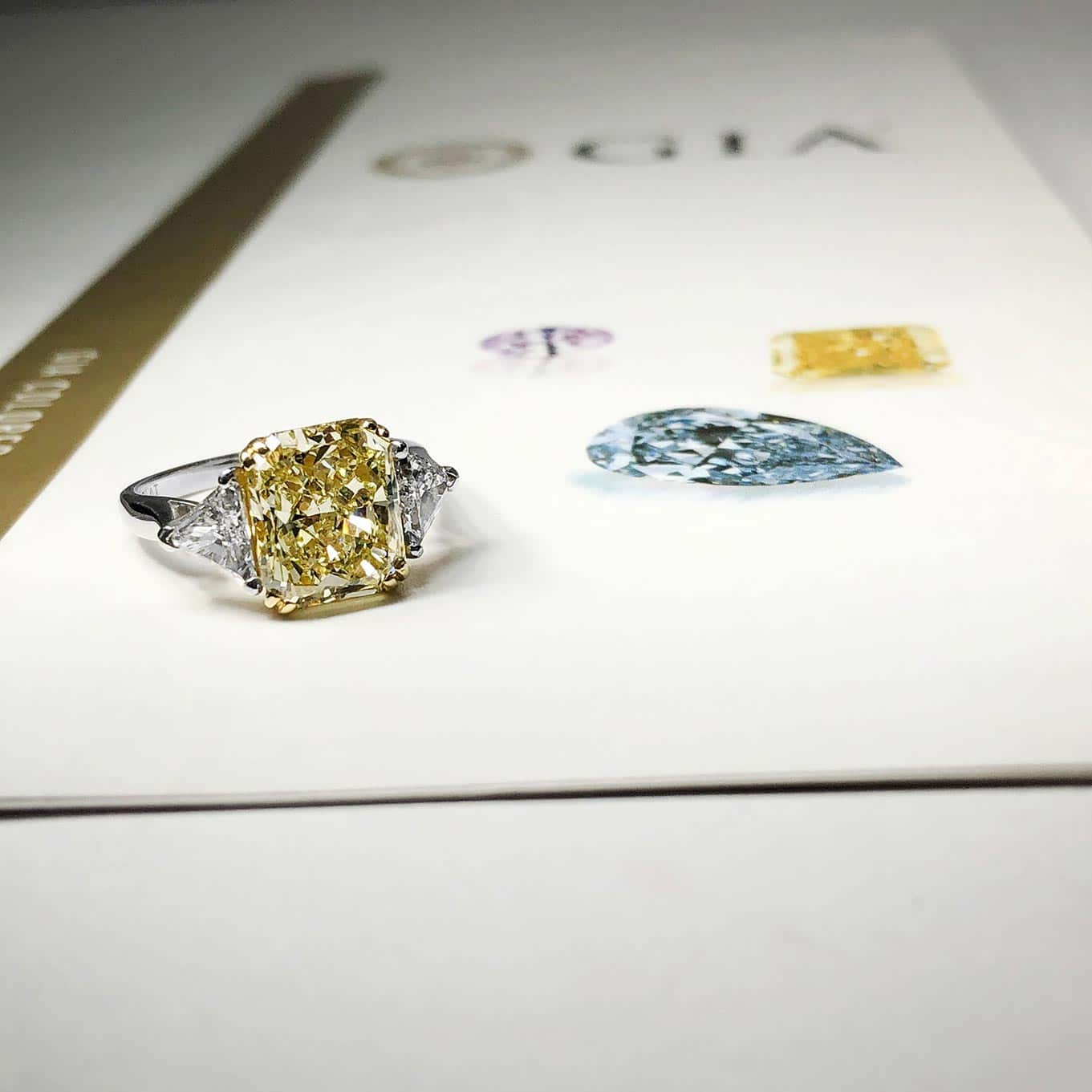 Yellow Diamond Ring on GIA Report