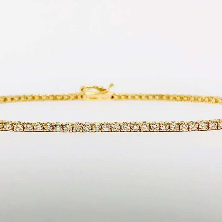 14KY Rount cut Diamond Line Bracelet