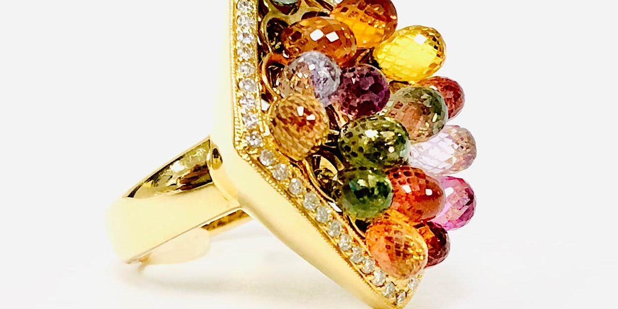18KY Multi Gemstone/ Diamond Ring