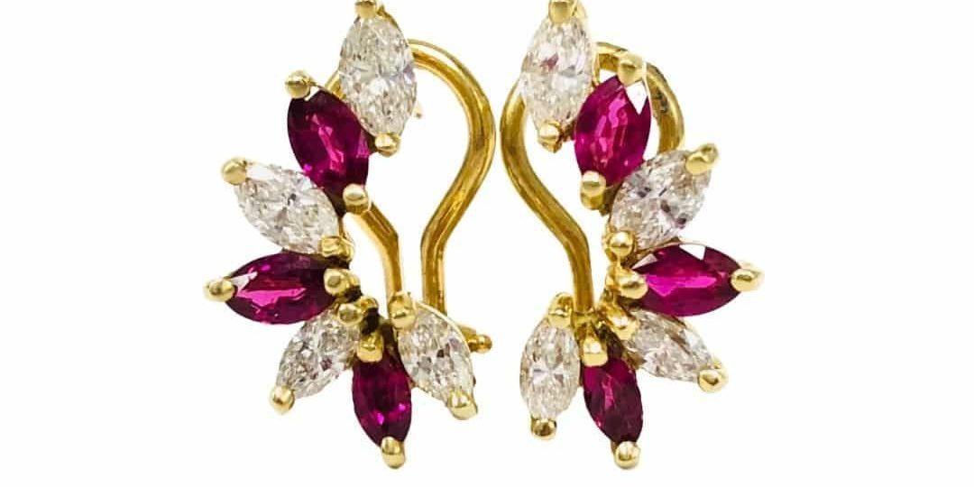 18KY MQ Ruby / Diamond Earrings