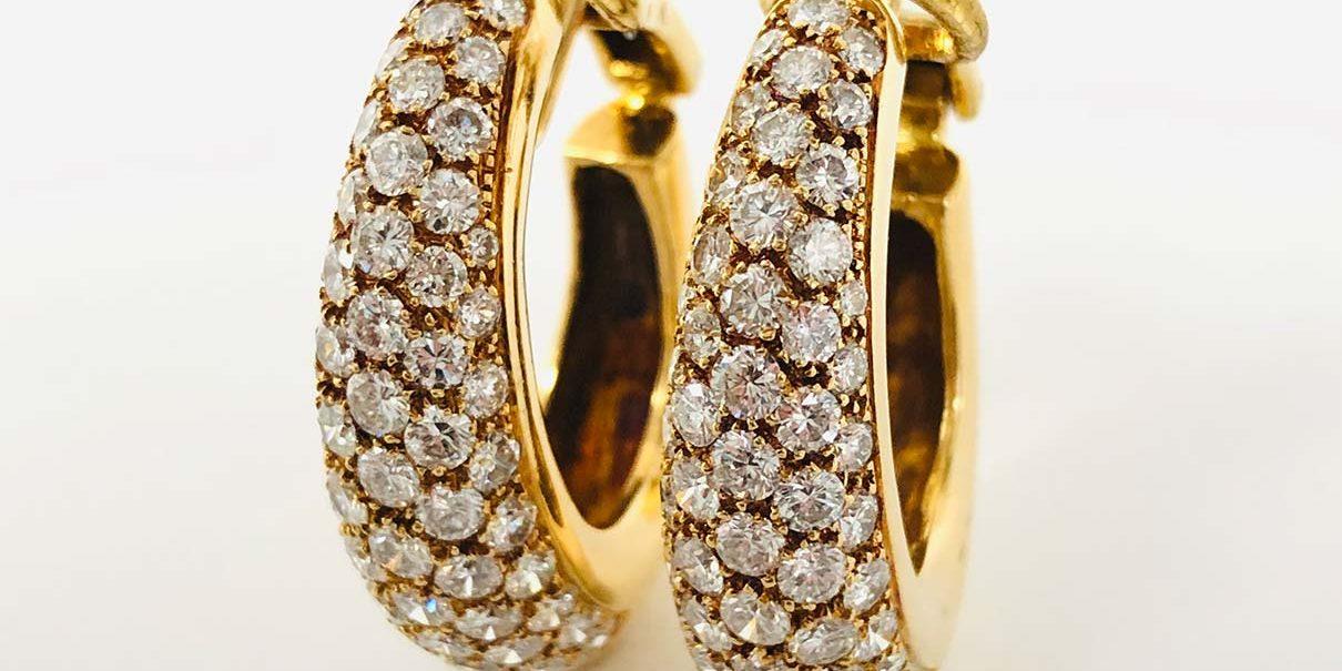 18KY Diamond Hoop Earrings