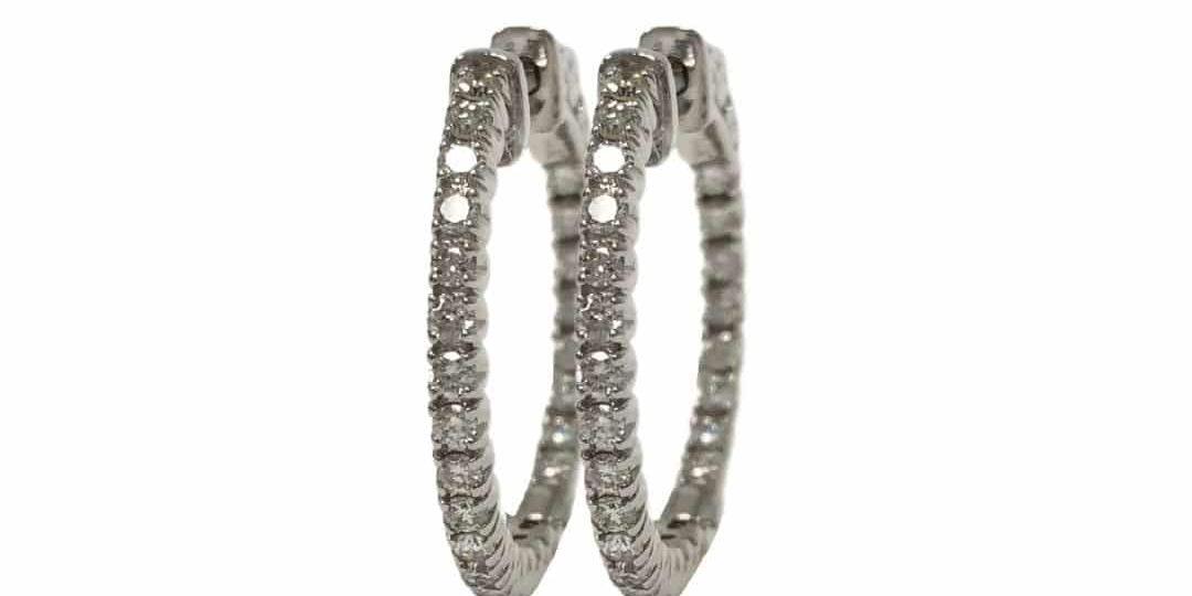 14KW Diamond Hoop Earrings