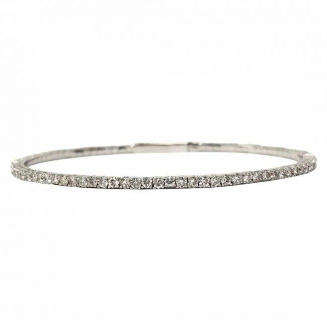 Double Clasp Diamond Bangle Bracelet in 14 Karat White Gold