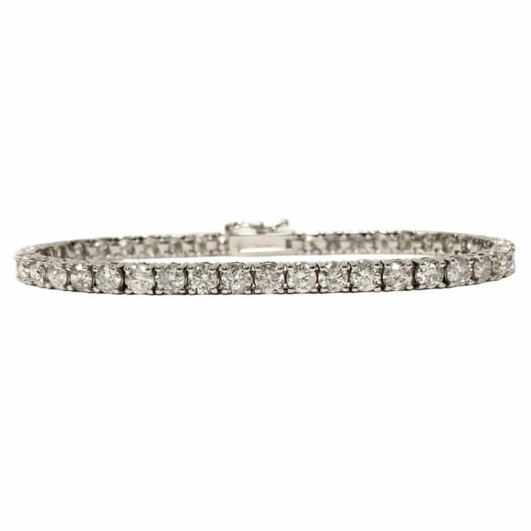 Diamond tennis bracelet on white background