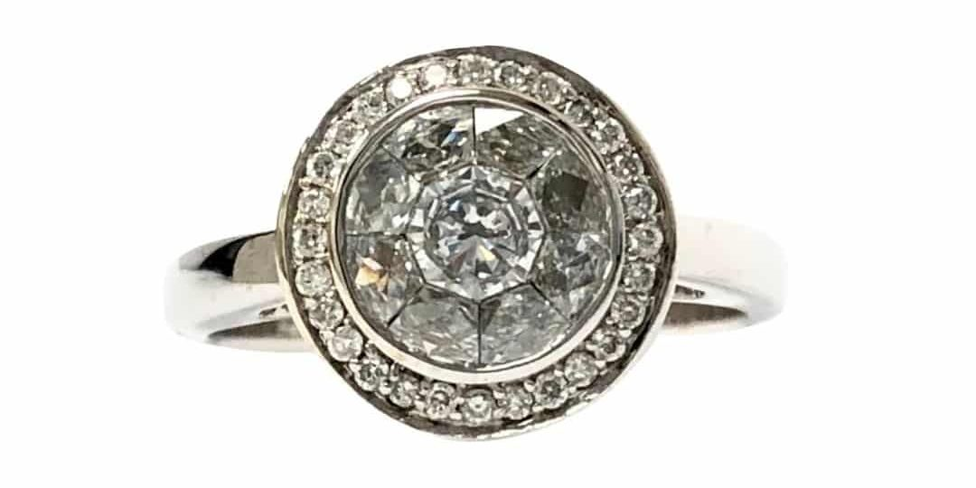 14KW Diamond lllusion set ring