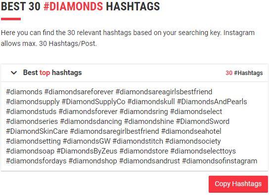 best diamond hashtags